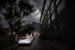 Woodstock exchange, dark clouds, Devils Peak, Cape Town